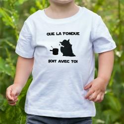 T-shirt mode enfant (garçon ou fille) - Que la Fondue soit avec Toi - Yoda aimant la fondue au fromage