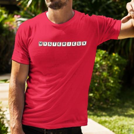 T-Shirt scrabble coton homme - Mystérieux, un voile de mystère sur votre personnalité