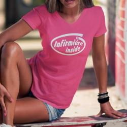 T-shirt coton humoristique Mode Dame - Infirmière Inside (infirmière à l'intérieur... du T-shirt), logo processeur
