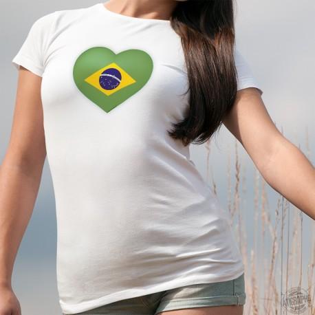 T-shirt mode dame - Coeur brésilien (drapeau brésilien en forme de coeur)