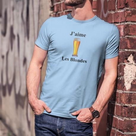 T-Shirt humoristique homme - J'aime les Blondes - Une bière blonde toujours fraîche à moins que... cela soit une femme blonde ?