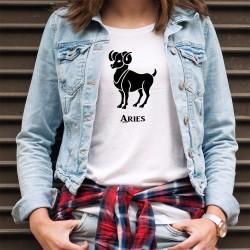 Donna T-shirt - segno astrologico Ariete (Aries in latino) elemento fuoco (energia ed entusiasmo)