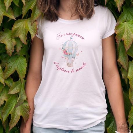 Kawaii T-shirt mode dame - Ne cesse jamais d'explorer le monde, girafon, éléphanteau et zébreau dans une montgolfière