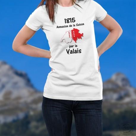 """T-Shirt dame - Valais 1815 - drapeau valaisan, frontières Suisse et citation """"1815 annexion de la Suisse par le Valais"""""""