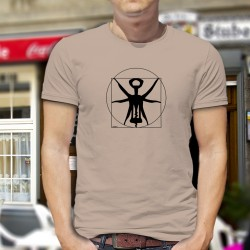 Men's Funny T-Shirt - The Vitruvian corkscrew, ideal proportions of the corkscrew from Leonardo da Vinci's drawing