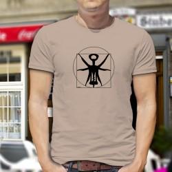 Uomo umoristica T-Shirt - Il cavatappi vitruviano, proporzioni ideali del cavatappi del disegno di Leonardo da Vinci