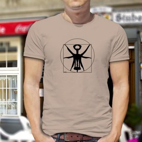 Men's Funny T-Shirt - The Vitruvian corkscrew, ideal proportions of the corkscrew from Leonardo da Vinci's drawing