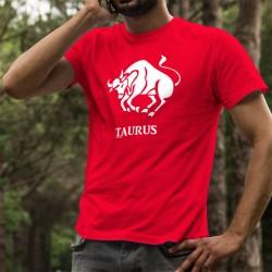 Baumwoll-T-Shirt - Sternzeichen des Stiers (lat. Taurus), Element Erde, für Männer, die zwischen dem 21. April und 20. Mai