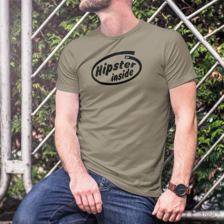 Hipster Inside ★ Barbu à l'intérieur ★ T-Shirt homme de style hipster et inspiré de la publicité Intel pour ses microprocesseurs