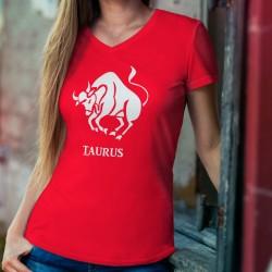 T-shirt in cotone moda donna - Segno astrologico del Toro (Taurus in latino)