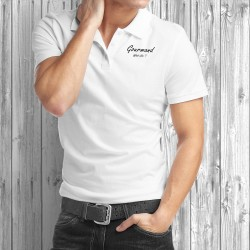 Polo shirt humoristique mode homme - Gourmand, What else ? - gourmandise, espresso, café