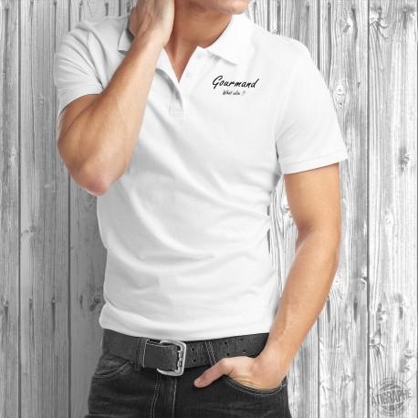 Gourmand, What else ? ★ Gourmand, quoi d'autre ? ★ Polo shirt humoristique homme - gourmandise, espresso, café