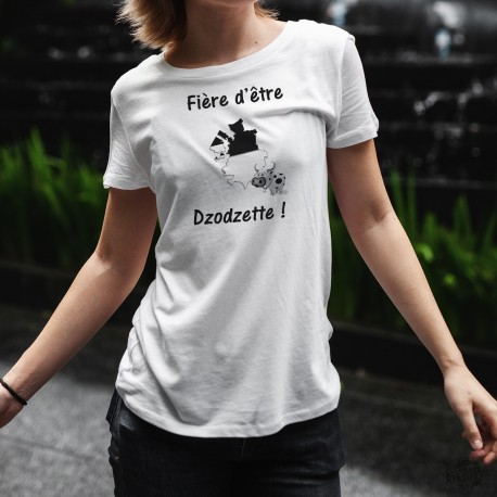 T-Shirt standard humoristique Dame - Fière d'être Dzodzette ! - canton de Fribourg et vachette à cornes