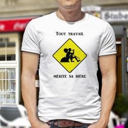 """T-Shirt humoristique homme - Tout travail mérite sa bière et panneau de signalisation """"attention travaux"""""""