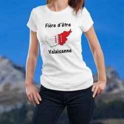 Fière d'être Valaisanne ★ T-Shirt mode dame ★ Frontières cantonales aux couleurs du Valais avec les treize étoiles