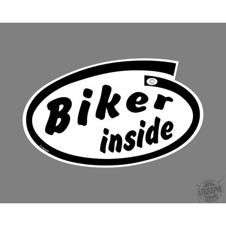 Car's funny Sticker - Biker inside