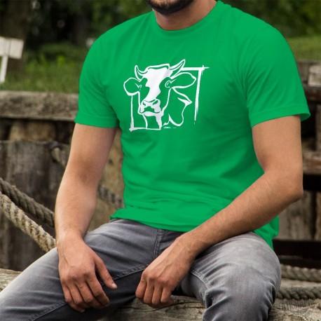T-Shirt coton homme - Tête de vache Holstein, de face, en blanc, encadrée et avec le T-shirt en couleur de fond