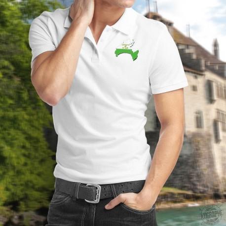 Polo uomo ha illustrato i confini del cantone di Vaud nei colori della bandiera vodese