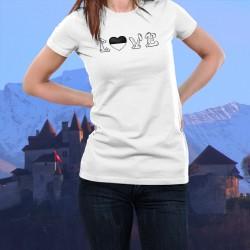 """Frauenmode T-shirt mit herzförmiger Flagge des Kantons Freiburg anstelle des """"O"""" des Wortes LOVE (Lieben)"""