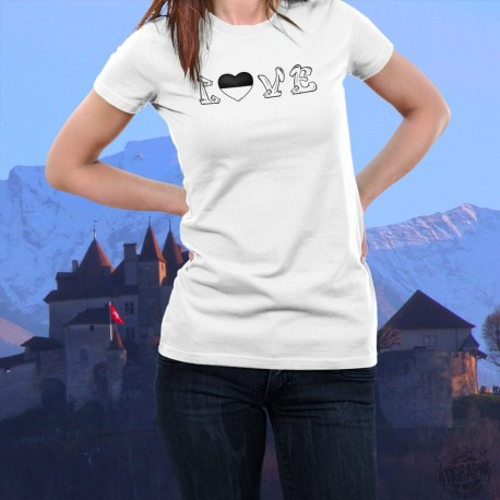 """Women's T-Shirt with a heart shaped Fribourg canton flag replacing the """"O"""" of the word LOVE"""