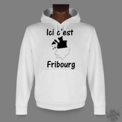 Sweat bianco a cappuccio - Ici c'est Fribourg