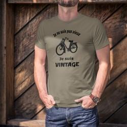"""T-Shirt humour homme - Vintage cyclomoteur Solex (mobylette populaire) et la citation """"Je ne suis pas vieux, je suis vintage"""""""