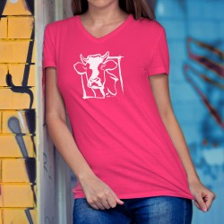 Tête de vache Holstein ✿ T-Shirt coton dame