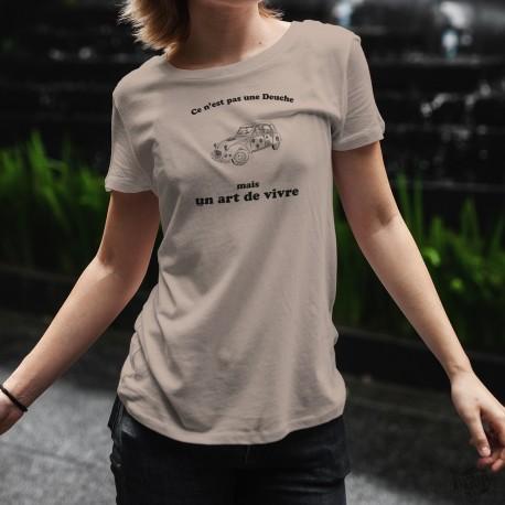 T-Shirt humoristique coupe standard dame - Ce n'est pas une Deuche mais un art de vivre, 2 Chevaux, fleurs hippies Flower Power