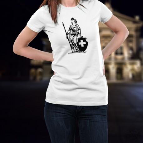 Women's fashion T-Shirt - Lady Helvetia (Swiss patriotic symbol)
