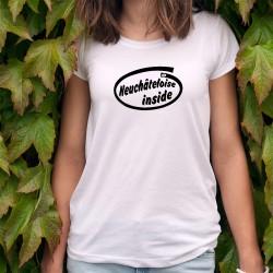 Neuchâteloise Inside ★ à l'intérieur ★ T-shirt dame inspiré du slogan d'Intel pour ses microprocesseurs