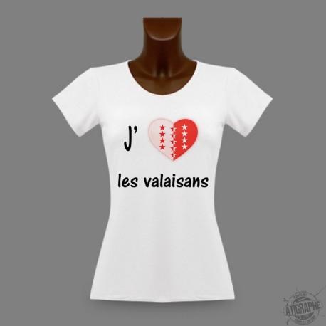 T-Shirt sexy slim moulant pour femme - J'aime les valaisans