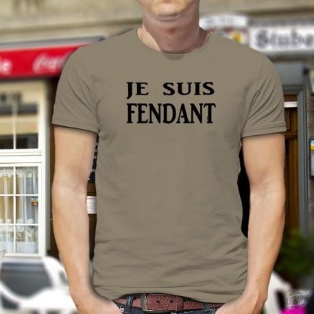 T-Shirt humoristique valaisan - Je suis FENDANT (vin blanc issu du cépage de Chasselas cultivé en Valais)