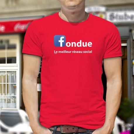 T-shirt coton mode homme - Fondue, le meilleur réseau social (logo Facebook)