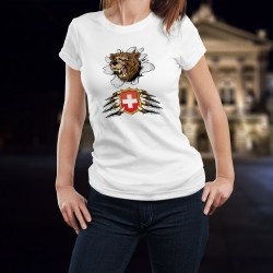 Lady fashion t-shirt with the head of a snarling bear tearing the T-shirt and holding the coat of arms of Switzerland between it