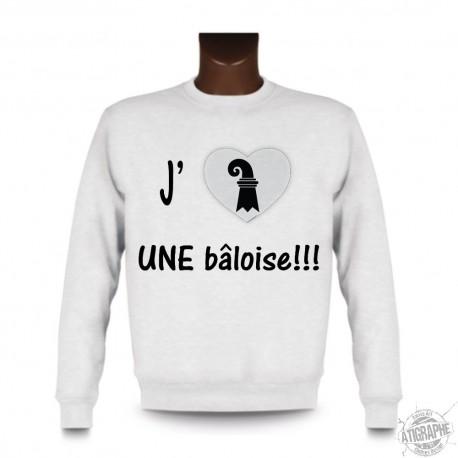 Sweatshirt - J'aime une bâloise, White
