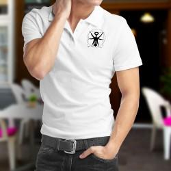 Herren Mode Polo shirt - Der Vitruvianische Korkenzieher - Neue Version von Leonardo da Vincis Zeichnung