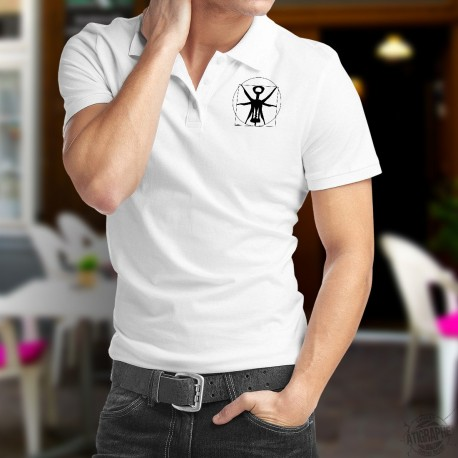 Men's fashion Polo Shirt - The Vitruvian corkscrew - New version of Leonardo da Vinci's drawing