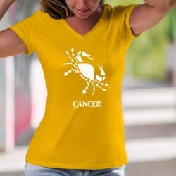 T-shirt in cotone moda donna - Segno astrologico Cancro ♋ (simboleggiato da un granchio)