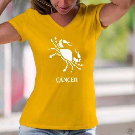 T-Shirt coton mode dame - Signe astrologique, Signe du Cancer ♋ (symbolisé par un crabe)