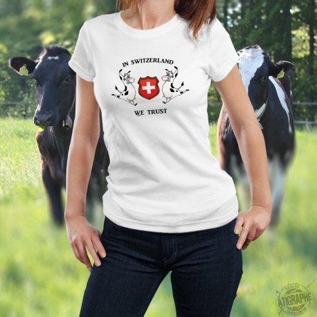 Women's Fashion T-Shirt - In Switzerland we Trust two Holstein cows surrounding the coat of arms of Switzerland