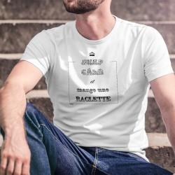 T-Shirt humoristique mode homme ★ KEEP CALM et mange une RACLETTE (souris mangeant du fromage)