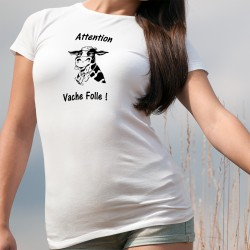 Frauen Slim T-shirt -  Attention Vache Folle