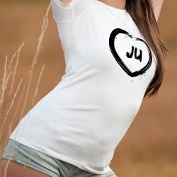 T-Shirt Jurassien dame - Coeur JU - Un coeur illustré à la manière d'un pinceau et les lettres JU pour le canton du Jura
