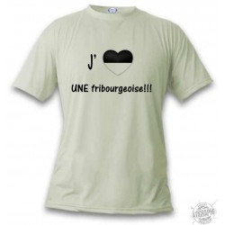 Uomo Funny T-Shirt - J'aime UNE fribourgeoise, November White
