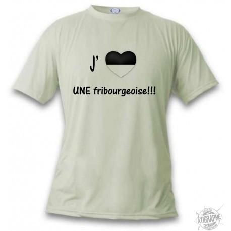 Uomo Funny T-Shirt - J'aime UNE fribourgeoise, November White