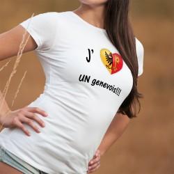 """J'aime UN genevois ❤ T-shirt mode dame, illustré d'un coeur aux couleurs du canton de Genève et du texte """"J'aime UN genevois """""""