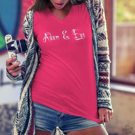 T-shirt 100% coton mode dame illustré du logo de la marque Adam & Eve® en blanc sur le devant et sur la manche droite