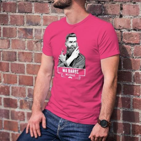 Ma barbe, mes règles ★ T-Shirt coton avec un hipster tenant ciseau et un rasoir coupe-choux (lame s'escamotant dans son manche)