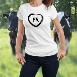 T-shirt à la coupe très féminine, illustré d'un coeur dessiné au pinceau et des lettres FR pour le canton de Fribourg