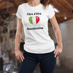 Fière d'être Neuchâteloise ❤ T-Shirt mode dame (coeur au couleurs du canton de Neuchâtel)